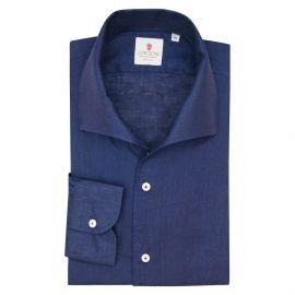 CORDONE 1956 Navy Linen Capri Collar Shirt