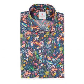 CORDONE 1956 Ocean Blue Cotton Limited Edition Shirt