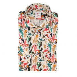 CORDONE 1956 Parrots White Cotton Limited Edition Shirt