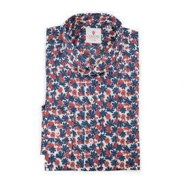 CORDONE 1956 Red and Blue Hibiscus Cotton Shirt