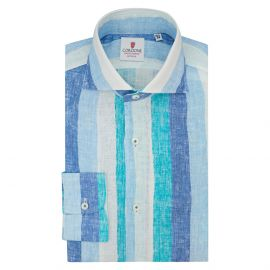 CORDONE 1956 Turquoise and Azure Big Striped Linen Limited Edition Shirt