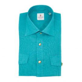 CORDONE 1956 Turquoise Linen Overshirt