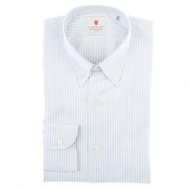 CORDONE 1956 White and Azure Cotton Oxford Striped Shirt