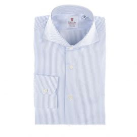 CORDONE 1956 White and Azure Stripes Cotton Twill Handmade Shirt