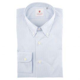 CORDONE 1956 White and Light Blue Cotton Oxford Striped Shirt