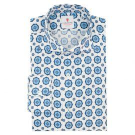 CORDONE 1956 White and Blue Cotton Seersucker Shirt