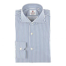 CORDONE 1956 White and Blue Stripes Oxford Satin Handmade Shirt