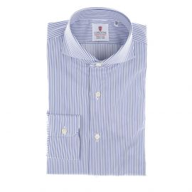 CORDONE 1956 White and Blue Stripes Cotton Twill Handmade Shirt