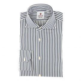 CORDONE 1956 White and Dark Blue Stripes Oxford Satin Handmade Shirt