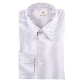 CORDONE 1956 White and Lilac Cotton Oxford Striped Shirt