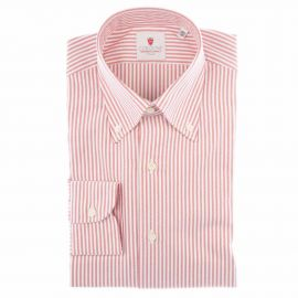 CORDONE 1956 White and Red Cotton Oxford Striped Shirt