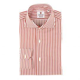 CORDONE 1956 White and Red Stripes Oxford Satin Handmade Shirt