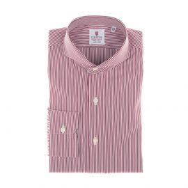 CORDONE 1956 White and Red Stripes Popeline Handmade Shirt