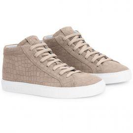 CROCO Cream High Top Sneakers