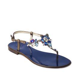 DEEP BLUE with Multicolor Crystals Embellished Sandals