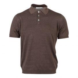 Brown Linen and Silk Polo Shirt