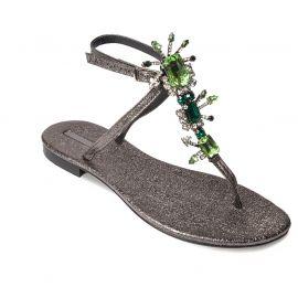 EMANUELA CARUSO ANTHRACITE/GREEN Ferrer Leather Sandals
