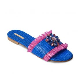 EMANUELA CARUSO BLUE Raffia with Fringe Sandals
