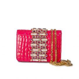 EMANUELA CARUSO CAPRI Coral Cocco Leather Shoulder Bag