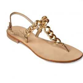 EMANUELA CARUSO GOLD Chain Laminated Leather Sandals