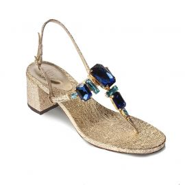 EMANUELA CARUSO GOLD Laminated Leather Sandals
