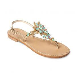 EMANUELA CARUSO GOLD/TURQUOISE Laminated Leather Sandals