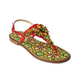 EMANUELA CARUSO MULTICOLOR Coral Mattonella Leather Sandals