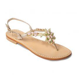 EMANUELA CARUSO Platinum Laminated Leather Sandals