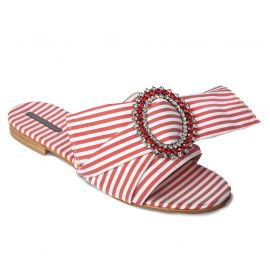 EMANUELA CARUSO RED/WHITE Fabric Sandals