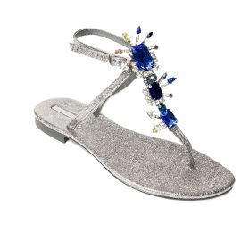 EMANUELA CARUSO SILVER/BLUE Ferrer Leather Sandals