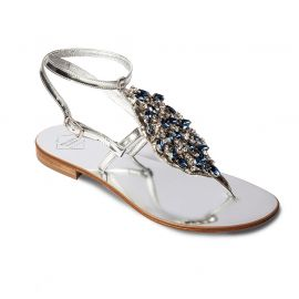 EMANUELA CARUSO SILVER/BLUE Mirror Lamineted Leather Sandals