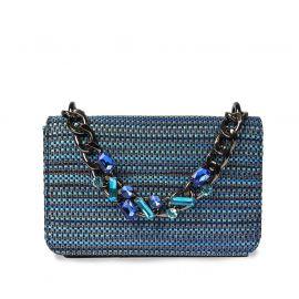 EMANUELA CARUSO VALENCIA Blue Raffia Shoulder Bag