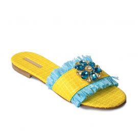 EMANUELA CARUSO YELLOW Raffia with Fringe Sandals