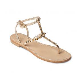 EMANUELA CARUSO PLATINUM Mirror Leather Sandals