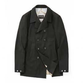 Navy Blue Laser Taped Double-Breasted Peacoat