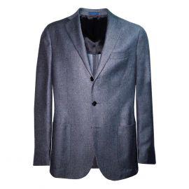 FINAEST Blue/Grey Wool Single-Breasted Suit