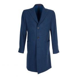 FINAEST Blue Herringbone Wool Single-Breasted Coat