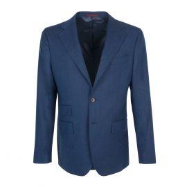 FINAEST Blue Herringbone Wool Single-Breasted Suit