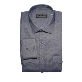 FINAEST Blue with Pockets Cotton Shirt