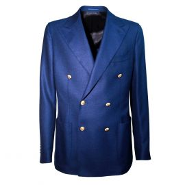 FINAEST Blue Wool with Gold Buttons Double-Breasted Blazer