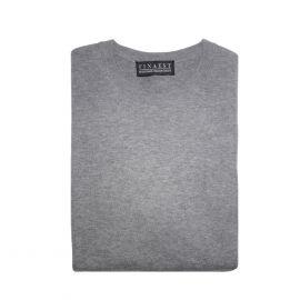 FINAEST Grey Cotton-Cashmere Round-Neck Pullover