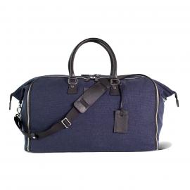 LUDOVICO MARABOTTO FLAMINGO Blue Linen/Regimental Weekend Bag