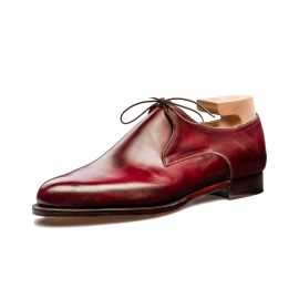 FRANCESCO LANZONE Aubergine Crust Calf Leather Derby Shoes