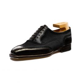 FRANCESCO LANZONE Black Calf and Black Suede Leather Oxford Brogues Shoes