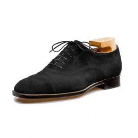 FRANCESCO LANZONE Black Suede Leather Oxford Shoes