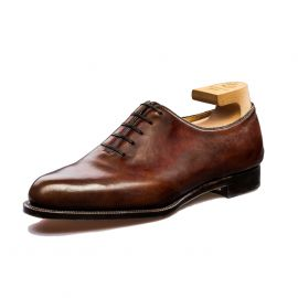 FRANCESCO LANZONE Dark Brown Crust Calf Whole-Cut Leather Oxford Shoes