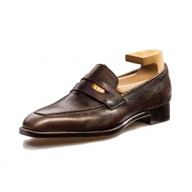 FRANCESCO LANZONE Dark Brown Grained Calf Leather Penny Loafers