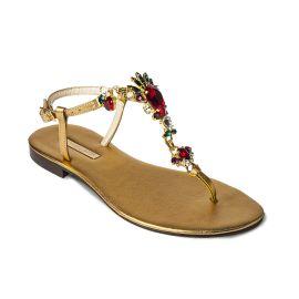 GOLDEN with Multicolor Crystals Embellished Sandals