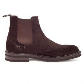 GREEN GEORGE Dark Brown Suede Chelsea Boots