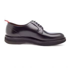 GREEN GEORGE Polished Black Calf Leather Derby Shoes
